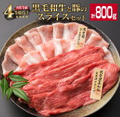 【ふるさと納税】宮崎県産黒毛和牛(300g)と宮崎県産豚(500g)のスライスセット<合計800g>