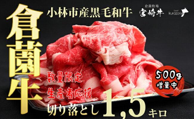 牛肉のコスパ5位:小林市産黒毛和牛切り落とし1.5kg