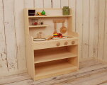 【ふるさと納税】【家具職人手作り】木製ままごとキッチンノーマルハイタイプ(ナチュラル)