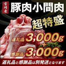 【ふるさと納税】宮崎産豚小間肉ズドンと3kg