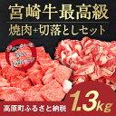 【ふるさと納税】宮崎牛最高級焼肉+切落しセット 1.3kg ...