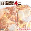 【ふるさと納税】<宮崎県産若鶏もも肉4kg> 4,000g