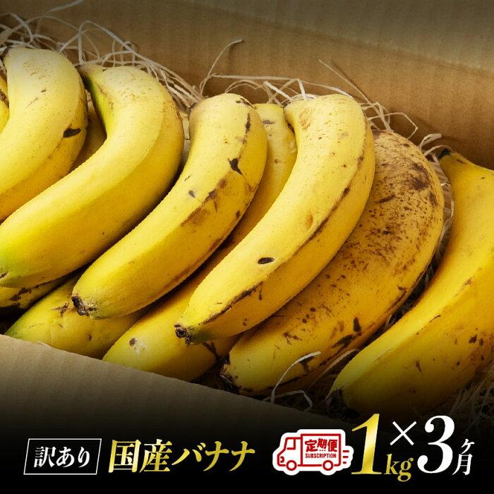 【ふるさと納税】【訳あり】国産バナナ1kg 3ヶ月定期便 ご自宅用や皮ごとスムージーにもオススメ!