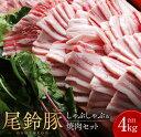 【ふるさと納税】尾鈴豚『しゃぶしゃぶ&焼肉セット』合計4kg