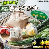 【ふるさと納税】遠見の里農産物セット(米2kg、手作り味噌や季節の旬の野菜果物など)【L-1】【庵川農産物販売所遠見の里】