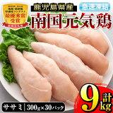【ふるさと納税】南国元気鶏ササミ(300g×30パック・計9kg)鶏肉のササミはあっさりヘルシーな味わい!使いやすいようバラバラの状態で急速凍結!【マルイ食品】