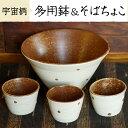 【ふるさと納税】多用鉢とそばちょこ(宇宙柄)薩摩焼の里・美山の陶器セット【緋色窯】