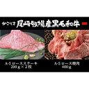 【ふるさと納税】K2 鹿児島尾崎牧場産黒毛和牛A-5等級 ロースステーキ 200g 2枚 ロース焼肉 400g