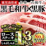 【ふるさと納税】黒毛和牛ロースステーキ・黒豚ロースステーキセット