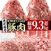 【ふるさと納税】【定期便・全3回】鹿児島県産豚肉定期便<3ヵ月連続・毎回2kg以上・合計8.9kg以上>使い勝手抜群の豚肉を小分けパックでお届け【ナンチク】【サンキョーミート】【カミチク】t003-006