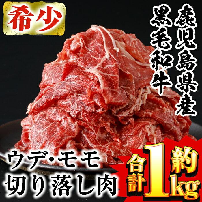 鹿児島県産黒毛和牛ウデ・モモ切落とし1kg(500g×2パック)125gずつ仕切りで使い勝手抜群!牛肉切り落し肉[財宝]