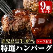 【ふるさと納税】鹿児島黒牛特選ハンバーグ9個入り_chuzan-386