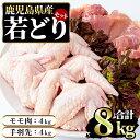 【ふるさと納税】まつぼっくり 若どりモモ肉4kg・手羽先4k