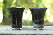【ふるさと納税】琉球ガラス一口ビアグラス泡ライン(黒)2個セット
