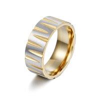 ステンレスリングメンズレディースステンレス幅広リング指輪8ミリヘアラインPVDコーティング個性的GOLD太めアレルギー対応平打ちリング大きい平打ちユニセックス