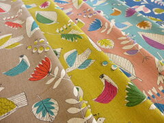 【50cm単位】 綿麻シーチング エンジェルソフト 北欧風レトロプリント 〜bird&leaf…