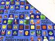 【キルト】☆50cm単位続けてカット☆スーパーマリオメーカー スクエア柄 ブルー【スーパーマリオ マリオ 生地 布 入園 通園 入学 通学 男の子】