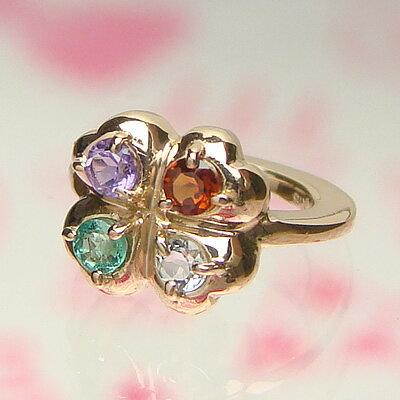【送料無料】4つの宝石が選べる四葉のクローバーベビーリングK18ピンクゴールド【刻印タイプ】出産記念 誕生祝い 出産祝い First Mother's Day