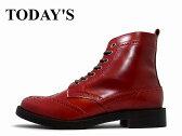 ウィングチップ レディース ウィングチップ ブーツ TODAY'S/トゥデイズ WINGTIP BOOTS 5525 レッド 日本製 本革 LADIES【送料無料!】【あす楽対応】