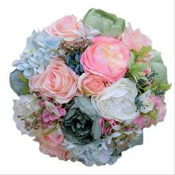 ウエディングブーケ ブートニア 結婚式 ラウンド型 ブーケ 造花 シルクフラワー アレンジメント 花嫁 披露宴 ガール バラ ボタン 花束