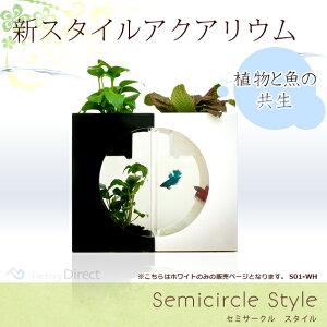 スタイリッシュインテリア水槽【送料無料】【限定販売】IEF-S01-WH■Semicircle/セミサークルス...