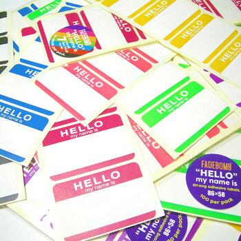 【単色100枚セット】FADEBOMB-HELLONameBadgeLabel【HELLOmynameis】名札ラベル宛名シール【RCP】【クロネコDM便OK】