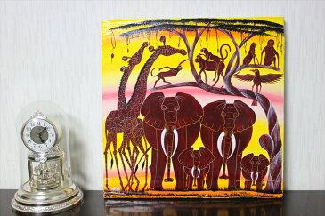 【即納・アウトレット】シャハ<SHAHA>の「ゾウと動物」中型45x45cm木枠張り バックカラー:黄色