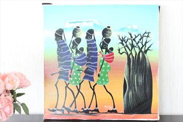 【即納・ティンガティンガ生原画】サランゲ<SARANGE>の「マサイ」中型45x45cm木枠張り・カンと紐つきでスグ飾れます バックカラー:青‐だいだい色