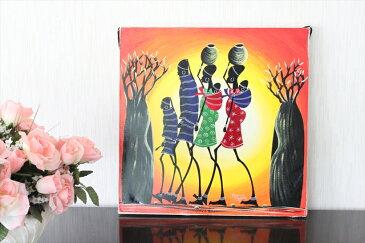 【即納・ティンガティンガ生原画】サランゲ<SARANGE>の「マサイ」中型45x45cm木枠張り・カンと紐つきでスグ飾れます バックカラー:赤‐だいだい色