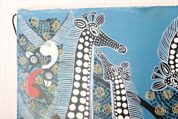 【即納・ティンガティンガ生原画】ルブニー<RUBUNI>の「黒いキリン」中型45x45cm木枠張り・カンと紐つきでスグ飾れます バックカラー:青