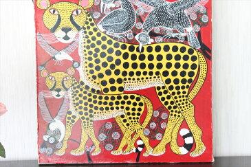 【即納】ルブニー<RUBUNI>の「ヒョウ」中型45x45cm木枠張り・カンと紐つきでスグ飾れます バックカラー:赤