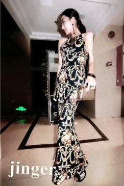 エレガントな王宮柄風デザイン欧米スタイル ストレッチロングドレス キャバドレス フォーマルドレス パーティードレス