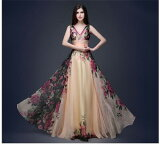 ロングドレス キャバドレス ドレス  エレガントなフラワー柄シフォンレース重ね 美シルエットフレアーデザイン ロングドレス