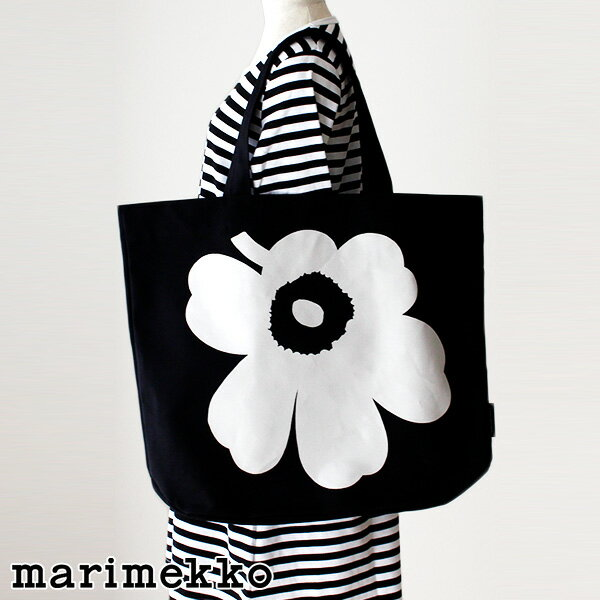 マリメッコ ウニッコ Torna Wx トートバッグ / ブラック×ホワイト marimekko Unikko bag 【 正規販売店 】