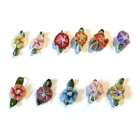 小花 リボンでできたぼかしのお花(カーネーション)