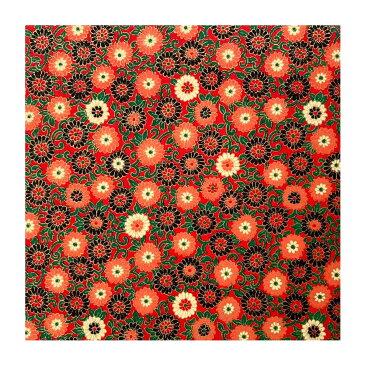 和紙 赤地に金の菊づくし ラッピングや和紙工芸 和紙人形 和紙の花やちぎり絵に使いやすい千代紙の大きさにカット