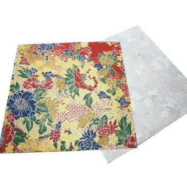 和紙 赤地金 シャクヤクと梅と菊 ラッピングや和紙工芸 和紙人形 和紙の花やちぎり絵に使いやすい千代紙の大きさにカット