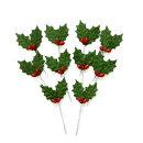 クリスマスケーキ飾り【オーナメント】FX-2緑のヒイラギ(10本入)