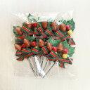 クリスマスケーキ 飾り オーナメント FX-28 ストライプリボンとどんぐり赤実 (10本入) 3