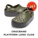 【クロックス crocs レディース】crocband platform logo clog/クロックバンド プラットフォーム ロゴ クロッグの商品画像