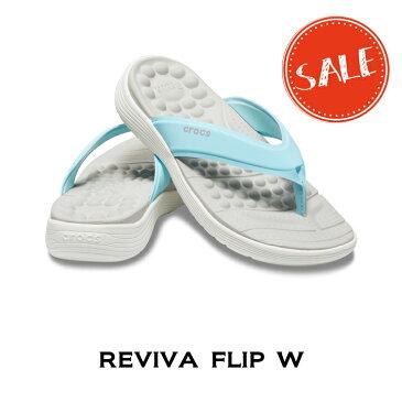 【クロックス crocs レディース】reviva flip w/リバイバ フリップ ウィメン/アイスブルーxホワイト