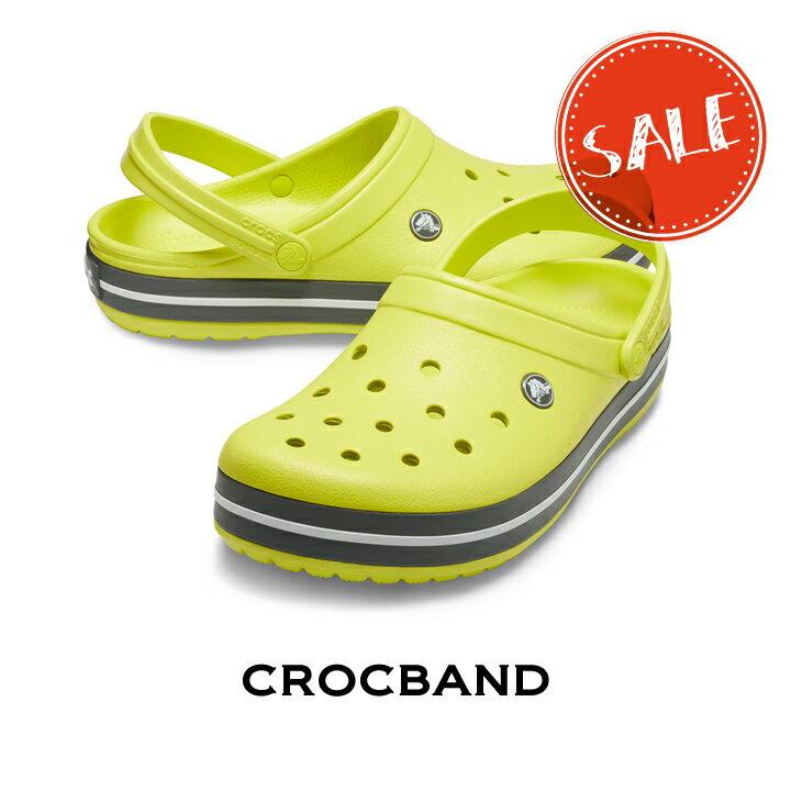 ●【クロックス crocs メンズ レディース】crocband/クロックバンド/シトラスxグレー画像
