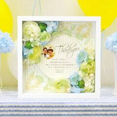 結婚式で贈りたいギフトお花アレンジ感謝ボード「ポーム グリーン」/結婚式両親へのプレゼント