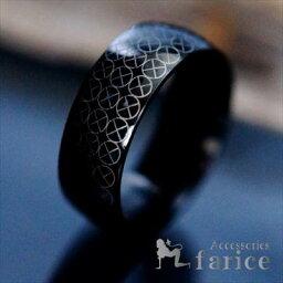サンクロス(太陽十字紋章)ラウンドデザイン ブラックカラー メンズ ステンレス リング【8mm幅】