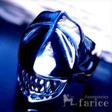 アイアンマスク・スカル(無数の牙を持つ鉄仮面髑髏) アームドデザイン 艶出し光沢鏡面仕上げ メンズ ステンレス リング
