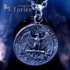 アメリカドル クォーター 25セントコインモチーフ ジョージ・ワシントン&イーグルリバーシブルデザイン メンズ ペンダント ネックレス