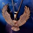 鳥類の王者イーグル 翼を広げ獲物を狩る鷲デザイン イエローゴールドカラー メンズ ペンダント ネックレス