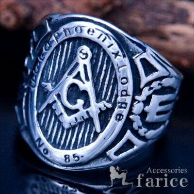 秘密結社フリーメイソンステンレスリング指輪メンズコンパス定規Gマーク石工道具