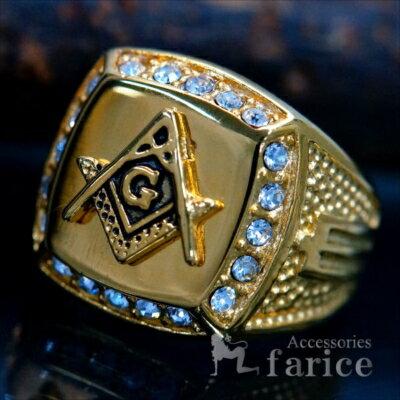 フリーメイソン秘密結社クリアビーズイエローゴールドコンパスゴッド神スクエアーステンレスメンズリング指輪