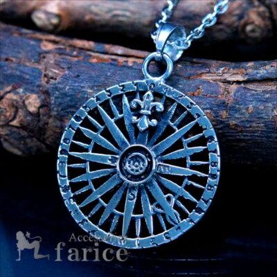 羅針盤方位磁針コンパスユリ花紋章メンズステンレスペンダントネックレス